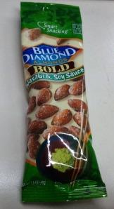 Blue diamond, nuts, wasabi almonds, soy sauce. snack, healthy