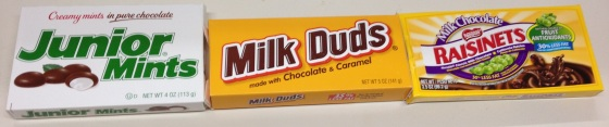 milk duds, junior mints, raisinets candy, movie theater candy, chocolate candy
